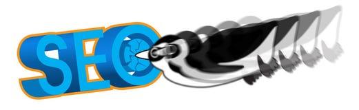 Pingvin som anfaller SEO-illustrationen Fotografering för Bildbyråer