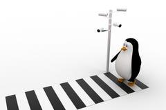 pingvin som 3d går på zibrakorsning och cctv-säkerhetskamera på vägbegrepp Royaltyfri Bild