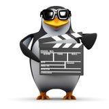 pingvin som 3d gör en film Arkivbild