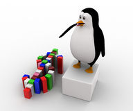 pingvin som 3d gör färgrikt dollarsymbolbegrepp Royaltyfri Bild