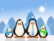 pingvin två för pingvin för ram för familj för fågelungar för vuxen människabakgrund blåa Royaltyfri Bild