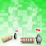pingvinet 3d med skriver in begrepp Royaltyfri Fotografi
