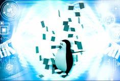 pingvinet 3d under regn av papper noterar illustrationen Royaltyfria Foton