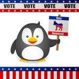 Pingvinet röstar för demokrat Arkivfoto