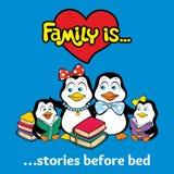 Pingvinfamiljen läser sagor för natten stock illustrationer