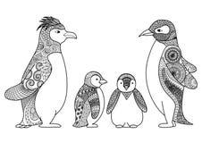 Pingvinfamiljlinje konstdesign för färgläggningboken för vuxen människa, T-tröjadesign och andra garneringar Royaltyfria Bilder