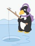 Pingvinfiske på isen Royaltyfria Foton