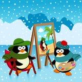 Pingvinkonstnärfantasi Royaltyfria Foton