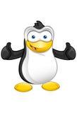 Pingvinmaskot - tum upp Arkivbild