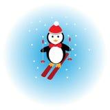 Pingvinskidåkning i snön Arkivbilder