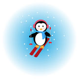 Pingvinskidåkning i snön Royaltyfri Foto