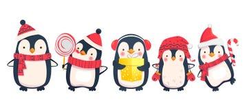 Pingvintecknad filmillustration royaltyfri illustrationer
