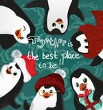 Pingwinów przyjaciół bożych narodzeń wektoru karta, wpólnie jest najlepszy miejscem być obraz stock