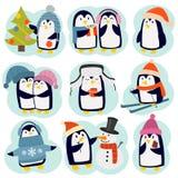 Pingwinów ustaleni wektorowi charaktery royalty ilustracja
