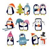 Pingwinów ustaleni wektorowi charaktery ilustracja wektor
