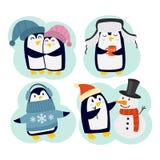 Pingwinów ustaleni wektorowi charaktery ilustracji