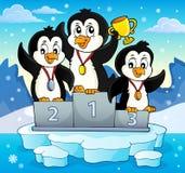 Pingwinów zwycięzców tematu wizerunek 3 royalty ilustracja