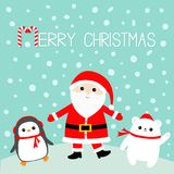 Pingwin Biały niedźwiedź polarny Święty Mikołaj jest ubranym czerwonego kapelusz, kostium, duża broda, pasowa klamra wesołych Świ royalty ilustracja