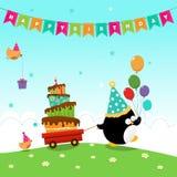 Pingwin Dostarcza Urodzinowego tort Zdjęcie Royalty Free