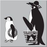Pingwin matka z dzieckiem ilustracji