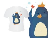 Pingwin w korony koszulki pojęciu ilustracja wektor