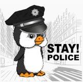 Pingwin w milicyjnej nakrętce Pingwin na tle metropolia również zwrócić corel ilustracji wektora ilustracja wektor