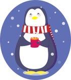 Pingwin z filiżanką Zdjęcie Stock