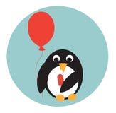 Pingwin z lody i balonem Obraz Royalty Free