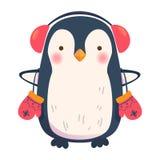 Pingwin z hełmofonami Zdjęcia Royalty Free