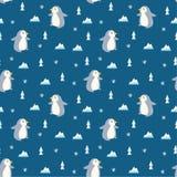 Pingwinu bezszwowy t?o w kawaii stylu wektorze ilustracja wektor