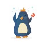 Pingwinu królewiątko w koronie z motylem ilustracji