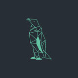 Pingwinu origami projekt Jasnozielony koloru wektor z ciemnym tłem Zdjęcie Stock