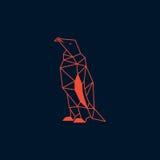 Pingwinu origami projekt Zmrok - błękitny koloru wektor z ciemnym tłem Obrazy Royalty Free