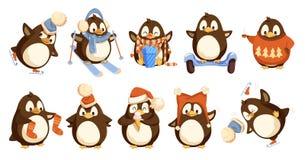 Pingwiny Jest ubranym zima Ciepli ubrania Ustawiającego wektor ilustracji