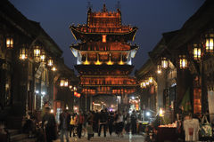 Pingyao antyczny miasto przy nocą Obrazy Royalty Free
