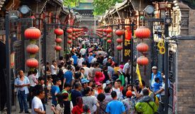 Pingyao, China - May 19, 2017: Peaple on market on the street of Pingyao Ancient Town China. royalty free stock image