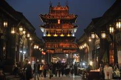 Pingyao forntida stad på natten Royaltyfria Bilder
