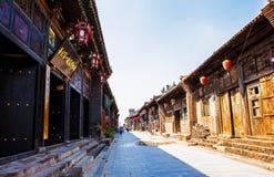 Pingyao plats-diversehandel och gator arkivbilder