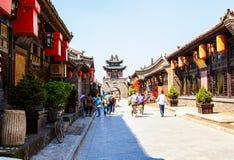 Pingyao plats-diversehandel och gator royaltyfria foton