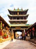 Pingyao plats-gammal storied byggnad royaltyfria foton