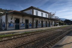 The Pinhao train station in the village of Pinhao at the Douro Valley, Portugal stock photos