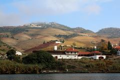 Pinhao and vineyards on the banks of the River Douro. Pinhao and vineyards in autumn on the port producing banks of the river Douro. Quinta do bomfim, Vila Real royalty free stock image