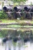 Pinheiros河的污染在圣保罗 图库摄影