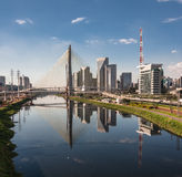 Pinheiros River and Bridge Sao Paulo Brazil Royalty Free Stock Images
