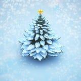 Pinho da árvore de Natal da neve da vista aérea isolado ilustração do vetor