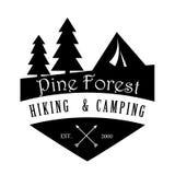 Pinho Forest Hiking e logotipo de acampamento ilustração royalty free