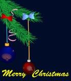 Pinho verde do Natal com esferas e fitas Foto de Stock Royalty Free