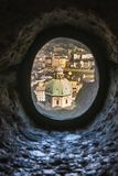 Pinhole View Of Salzburg Cathedral`s Dome In Salzburg City, Austria Royalty Free Stock Photo