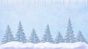 Pini alle precipitazioni nevose, alla caduta dei fiocchi di neve ed ai ghiaccioli, paesaggio gelido, scena della neve di inverno  illustrazione di stock