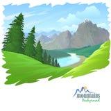 Pini, montagne e colline verdi Fotografia Stock